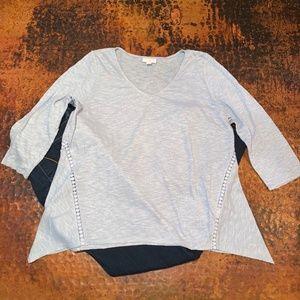 J. Jill Blue Linen Blend Knit Top